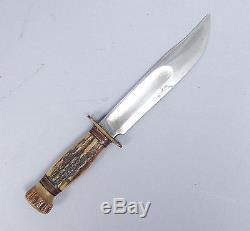 Vintage Early 20c Marbles Gladstone Hunting Knife Decorated Sheath Horn Handle