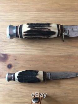 Vintage Edge Mark 426 Hunting Knife Set Solingen Germany Matched Pair Stag