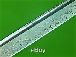 Vintage Finnish Finland Puukko Engraved Black Handle Hunting Knife & Sheath