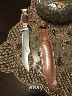 Vintage Fixed Blade Edge Brand 469 Solingen Germany Hunting Bowie Knife, Sheath