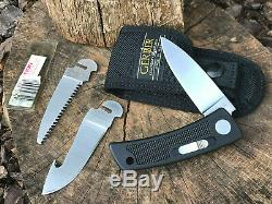 Vintage Gerber Bolt Action Exchange Blade Knife With 3 Blades & Nylon Sheath
