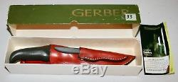 Vintage Gerber USA Magnum & Pixie Hunting Skinning 2 Knife Set & Sheath In Box