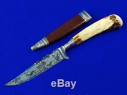 Vintage German Germany Carved Stag Handle Engraved Hunting Knife with Sheath