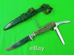 Vintage German Germany Puma Werk Solingen Multi Tool Hunting Knife with Sheath