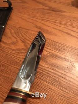 Vintage J Nowill & Sons Sheffield 7 Stag Bowie Survival Hunting Knife WithSheath