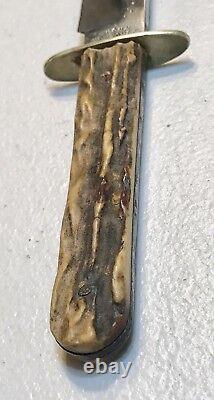 Vintage John Newton&Co Sheffield England Bowie Dagger Knife WithSheath Stag Handle