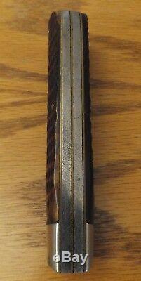 Vintage KA-BAR 2 blade folding hunting trapper's knife Dog head bone handle