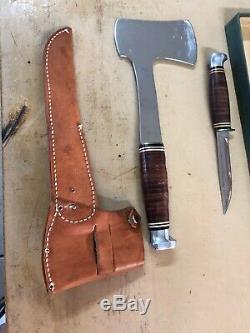 Vintage KA-BAR Kabar Hatchet Axe & Knife Leather Sheath Case Original Box