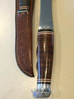 Vintage Ka-Bar Axe & Knife Combo Set with Engraved Leather Sheath KABAR Ax