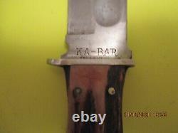 Vintage Ka-bar Fixed Blade Knife Union Cutlery Co. Olean, N. Y. With Sheath G. C