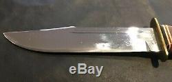 Vintage KaBar 1207 Fixed Blade Hunting Knife Vietnam Era, Stacked Leather Handle