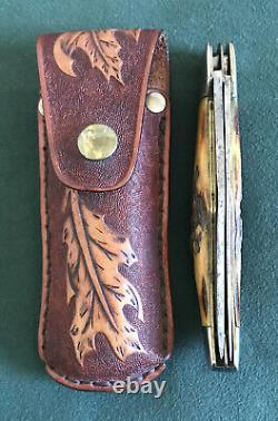 Vintage Kabar USA 1940s-50s Old Stag Handle Hunting Folding Knife Rare Os