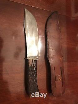 Vintage Kabar Union Cutlery Hunting Fighting Sheath Knife Stag Handle