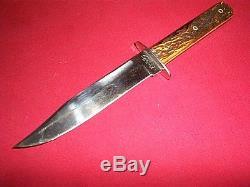 Vintage Kinfolk's Cutlery Jigged Bone Hunting Bowie Style Knife WithSheath