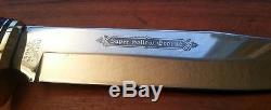 Vintage LG Solingen Germany knife finger Grooved Antique Stag bone hunting Bowie
