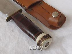 Vintage MARBLE'S GLADSTONE Fixed Blade HUNTING KNIFE Stag Handle LEATHER SHEATH