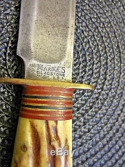 Vintage Marbles Gladstone Mich. U. S. A. 4 Pin Ideal Hunting Knife 6 inch blade