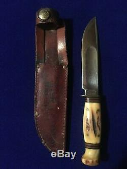 Vintage Marbles Ideal Hunting Knife Genuine Full Stag & Original Leather Sheath