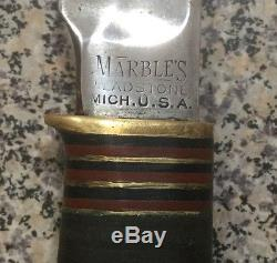 Vintage Marbles Ideal Hunting Knife WithSheath 5 Blade, Gladstone, MI. USA