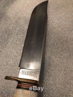 Vintage Marbles USA Trailmaker Bowie 10 Blade Knife Withsheath Stag/Stag Hunting