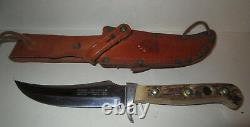 Vintage Mid Century Puma 6393 Skinner Knife Bowie Stag w Leather Sheath 1968