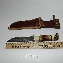 Vintage Morseth Brusletto Fixed Blade Hunting Knife With Stag Handle & Sheath