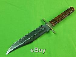 Vintage Old Sheffield English British Indian Ridge Traders Bowie Hunting Knife