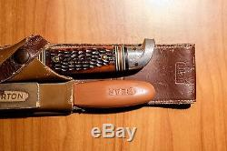 Vintage Original Fred Bear Knife, File and Stone in Leather Sheath Set