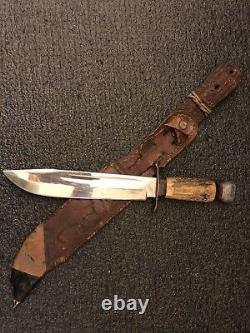 Vintage RARE Puma Solingen 6320 Scout Fixed Bowie Hunting Knife 8 Stag LOOK