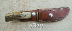 Vintage Randall Model 20 Skinning Knife & Leather Scabbard /stone / Stag Handle