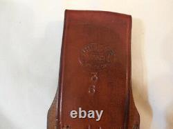 Vintage Randall knife 3-6 H H Heiser Corn Row Sheath White stone Brown Button