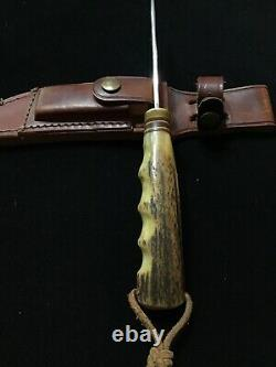 Vintage Randall knife with Sheath Early Pinned Stag Finger Grooves