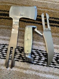 Vintage Rare Western USA Axe-Knife Axe Bowie Survival Knife Set WithSheath/Box