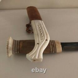 Vintage Sami Knife Wood/horn Handle & Sheath Lapland Sweden Puukko Signed 1987