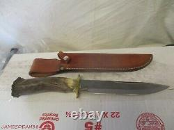 Vintage Silver Stag Hunting Knife SHEATH 8.25 Blade 14 OVERALL
