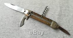 Vintage Solingen Germany Folding Pocket Hunting Multi Tool Knife Stag Handle