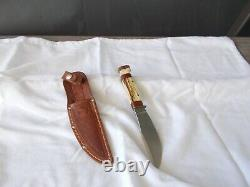Vintage Stag Handle Marbles Gladstone Mich Woodcraft Hunting Knife & Sheath