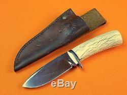 Vintage US Custom Hand Made MIKE LEACH Hunting Knife with Sheath
