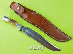 Vintage US Custom Made RUANA M Stamped 9 Blade Hunting Knife & Sheath