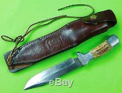 Vintage US Custom Made RUANA M Stamped Hunting Knife & Sheath