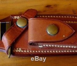 Vintage-US-Custom-Made-by-RALPH-BONE-Hunting-Knife-amp-Sheath