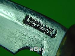 Vintage US USA RANDALL MADE Orlando Florida Hunting Knife & HEISER Sheath Stone
