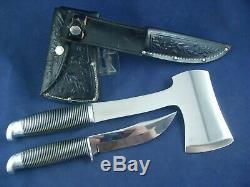 Vintage Western Black Beauty Boulder Colo. Knife Hatchet Combo