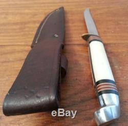 Vintage Western Boulder Colo hunting knife Scrimshaw bird trout skinner witho. Case