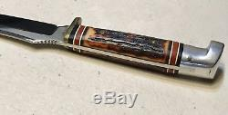 Vintage Western USA H40 H Fighting Hunting Dagger Knife WithLeather Sheath VG Cond