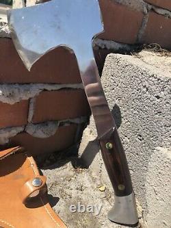 Vintage Western USA Hatchet & Hunting Knife Combo With Sheath