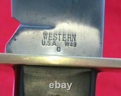 Vintage Western USA W-49 C 1979 Bowie Hunting Knife WithOriginal Sheath (P-49)