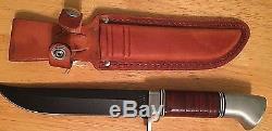 Vintage Western USA W36 Fixed Black Blade Knife with Sheath