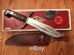 Vintage Western W49 Bowie Survival Hunting V44 knife WithSheath/Box/Belt Buckle