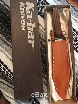 Vintage Wood Kabar Ka-Bar 1210 J. Bowie Hunting Survival Camping Knife Withsheath